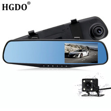 hot deal buy hgdo dvr car dash cam dual lens rearview mirror 4.3inch full hd 1080p video recorder dvr auto registrator camcorder dash camera