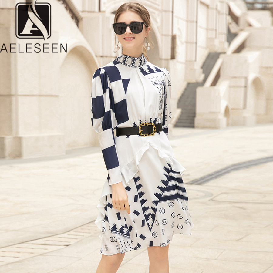 AELESEEN High Quality Dress Women 2019 Summer Puff Sleeve Floral Print Ruffles Bow Sashe Geometric Printed