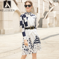 AELESEEN High Quality Dress Women 2019 Summer Puff Sleeve Floral Print Ruffles Bow Sashe Geometric Printed Dress