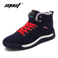 MVVT Plust Size Men Winter Boots With Fur Keep Warm Genuine Leather Men Boots Platform Snow