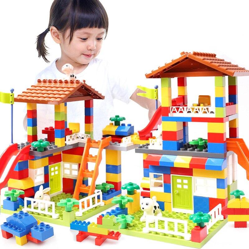 Bloques de deslizamiento de gran tamaño Compatible LegoINGlys Duploed Casa de la ciudad techo grandes bloques de construcción de partículas Castillo ladrillos juguetes para niños