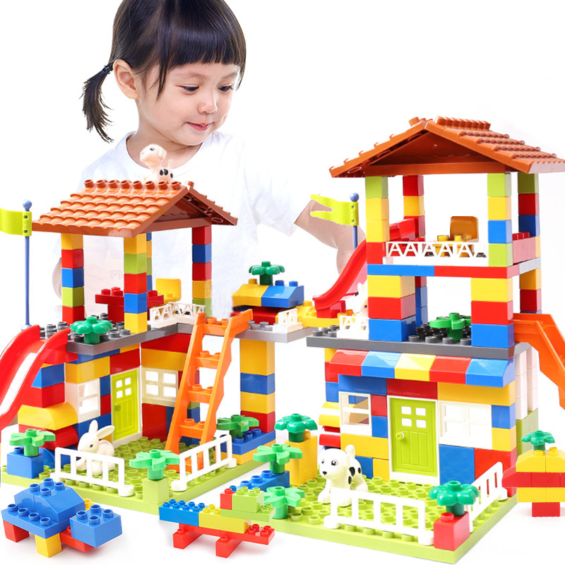Classic Big Size Slide Building Blocks House Roof Big Particle Assembly Blocks Plastic Castle Educational DIY Bricks Kids Gifts