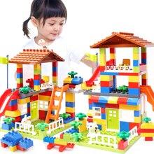 Classique grande taille toboggan blocs de construction maison toit grande particule assemblage blocs en plastique château Compatible Duploed briques à monter soi même cadeau