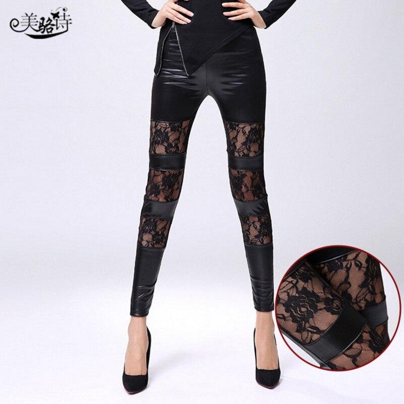 Legins Punk Gothic Fashion Women Leggings Sexy PU Leather Stitching Embroidery Hollow Lace Legging For Women Leggins Rose101