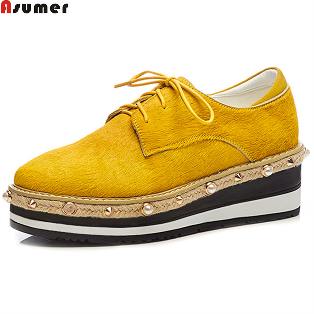 Asumer black yellow square toe lace up ladies spring autumn shoes platform wedges shoes for women horsehair high heels shoes 2016 spring autumn women pumps fashion square toe lace up ladies shoes silver platform wedges high heels zapatos mujer 33 40
