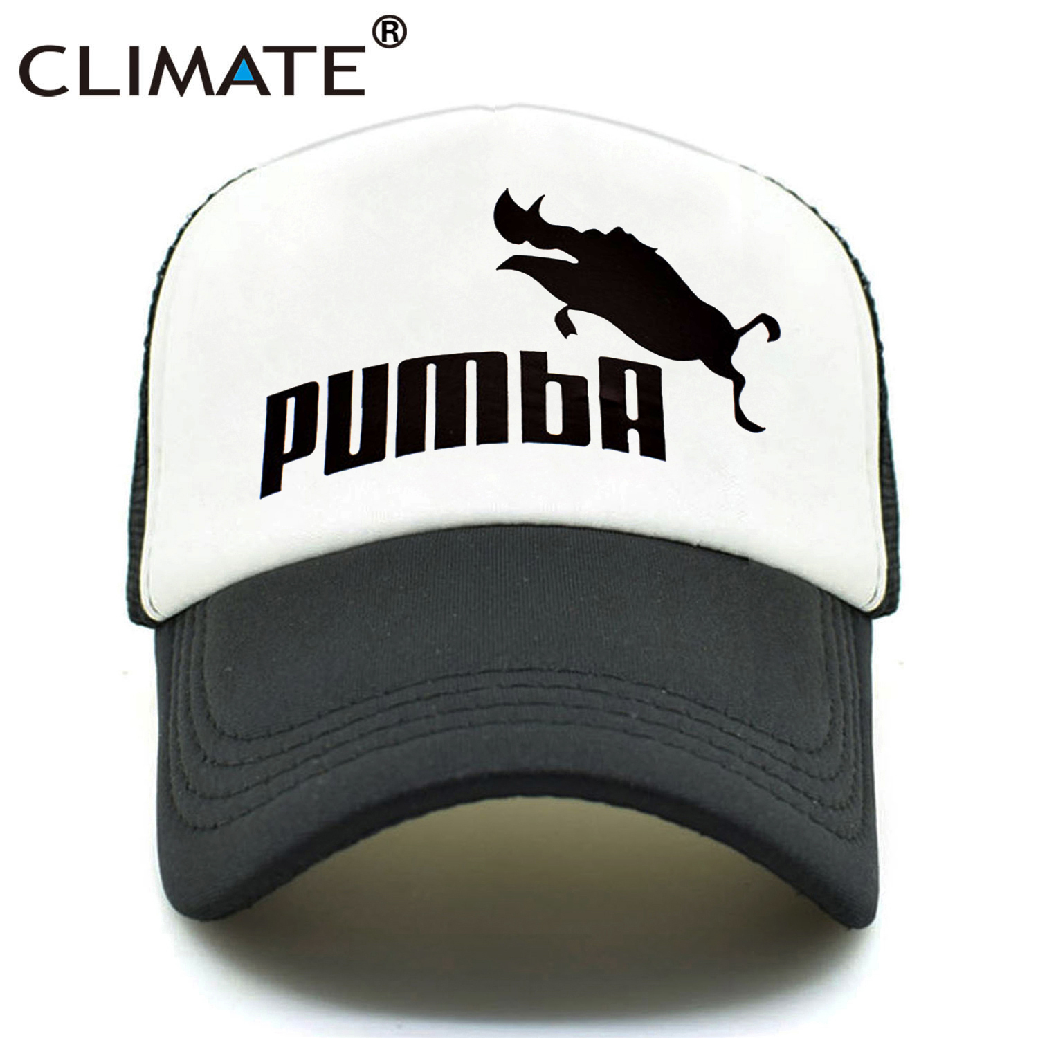 CLIMATE Men Women New Trucker Caps Funny Pumba Cool Summer Caps Hot Cute Homme Pumba Lion King Baseball Mesh Net Trucker Cap Hat
