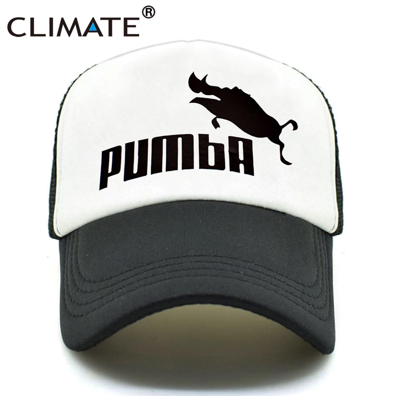 CLIMATE Men Women New Trucker Caps Funny Pumba Cool Summer Caps Hot Cute Homme Pumba Lion King Baseball Mesh Net Trucker Cap Hat