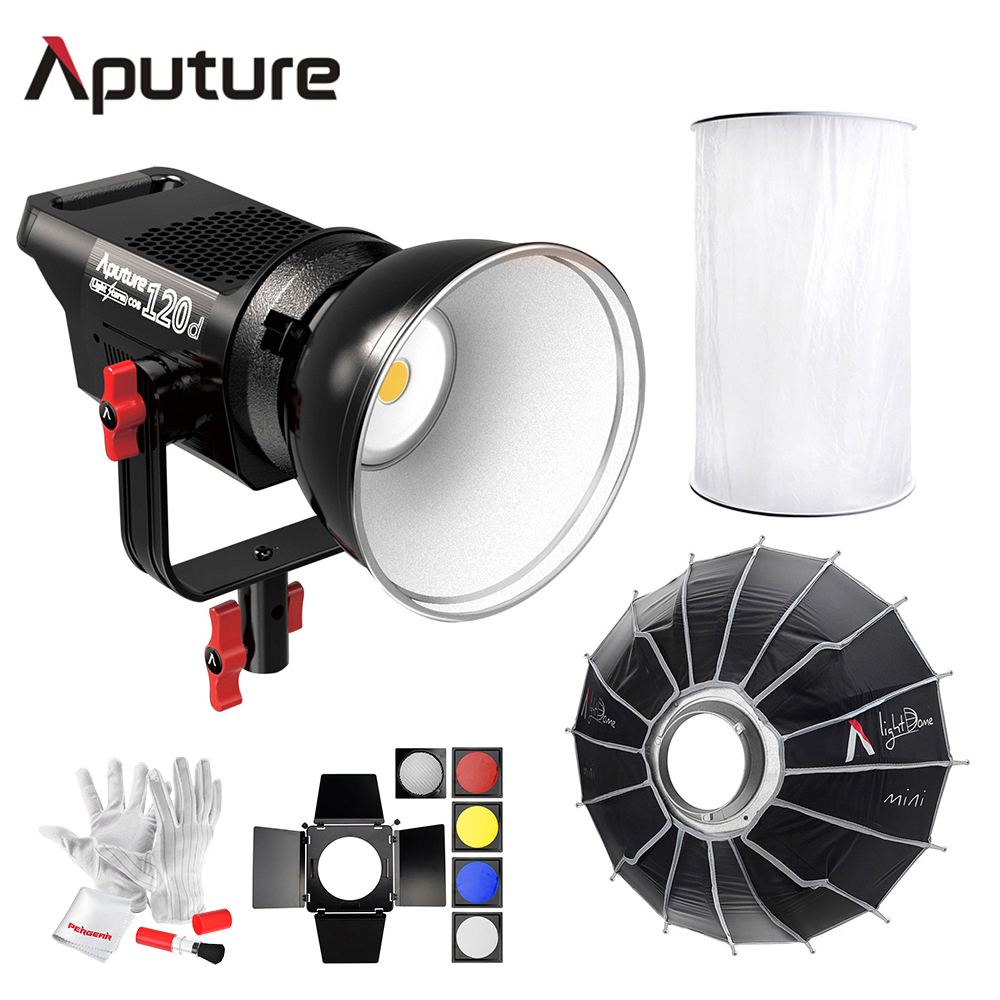 Aputure Light Storm COB 120D 135W 6000K LED Continuous Video Light CRI97+ TLCI97+with Aputuure Space Light + Light Dome Mini aputure ls c300d cri 95 tlci 96 48000 lux 0 5m color temperature 5500k for filmmakers 2 4g remote aputure light dome mini