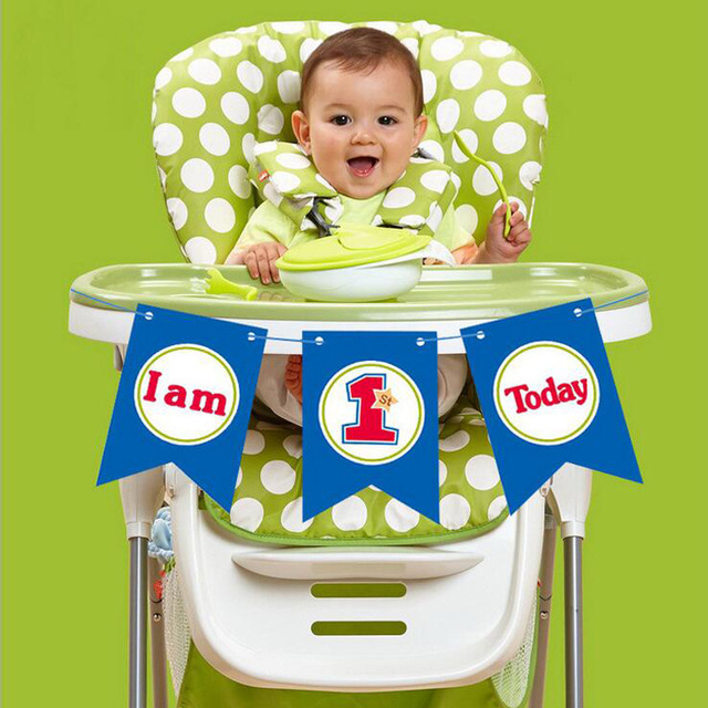 i am one high chair banner baby boy first birthday party bunting