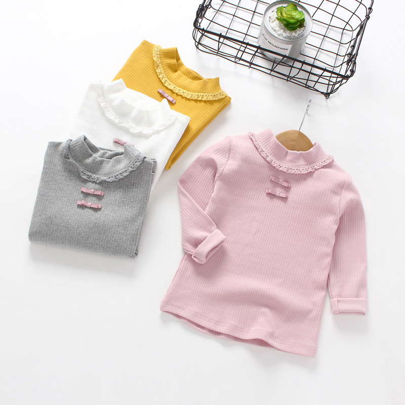 2018 Children Cotton Long-Sleeved T-shirt Baby Striped Turtleneck Blouse Girls Blouse Full Solid Tshirt 4 Colors Sweatshirts