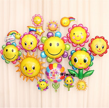 big large round emoji birthday balloons party decoration smiley face smile cloud sunflower rainbow flower