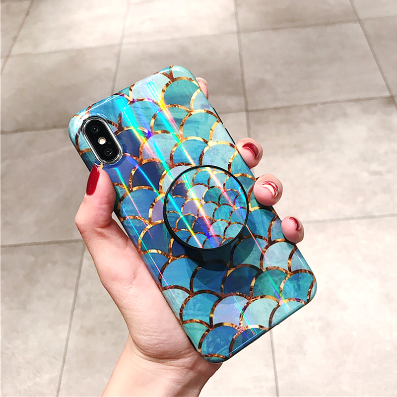 Shiny mermaid scales laser phone cases for iphone 7 8 X XR XS Max 6 S 6s 7 8 plus Ring air bag Stand holder Grip case back cover (7)