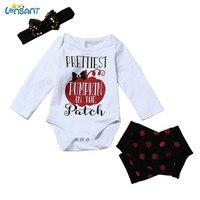 LONSANT Baby Girls Halloween Romper Jumpsuit Headband Clothes Set Funny Baby Roupas Vestido De Festa Infantil