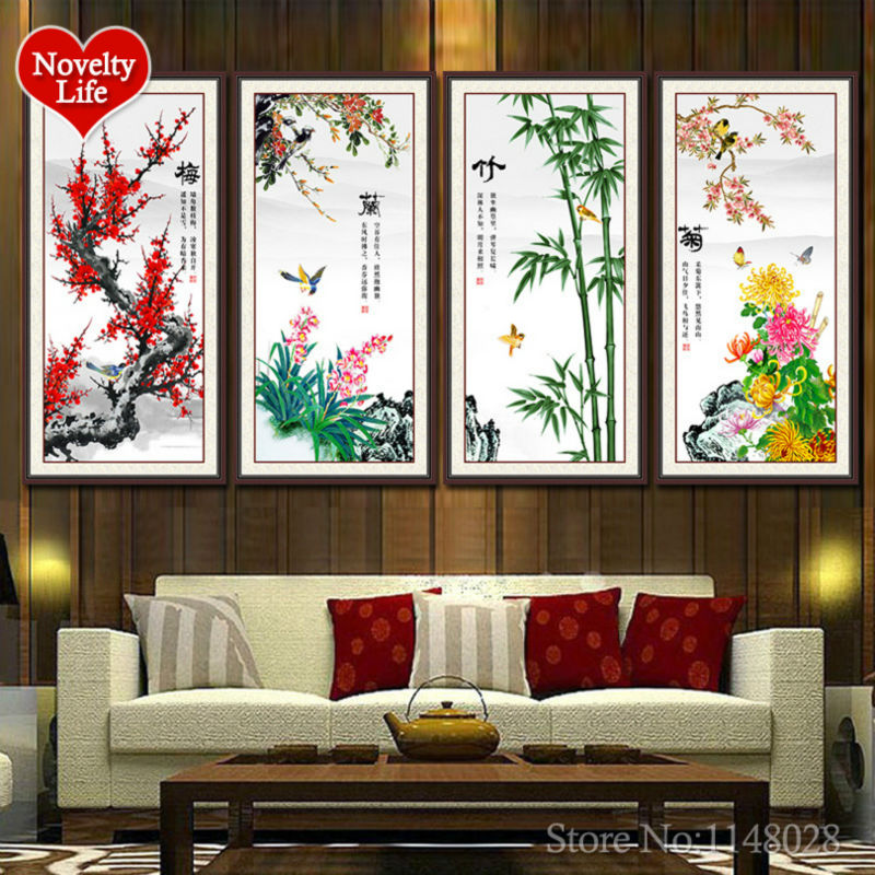 Nové kolo diy diamantové malby 5d krystal výšivky pryskyřice vyšívání dům dekorace květ švestka orchidej bambus chryzantéma