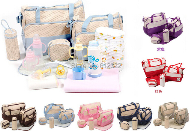 Five-piece mummy bag for moms with nappy bags function and 2016 baby diaper mama Bags maternity