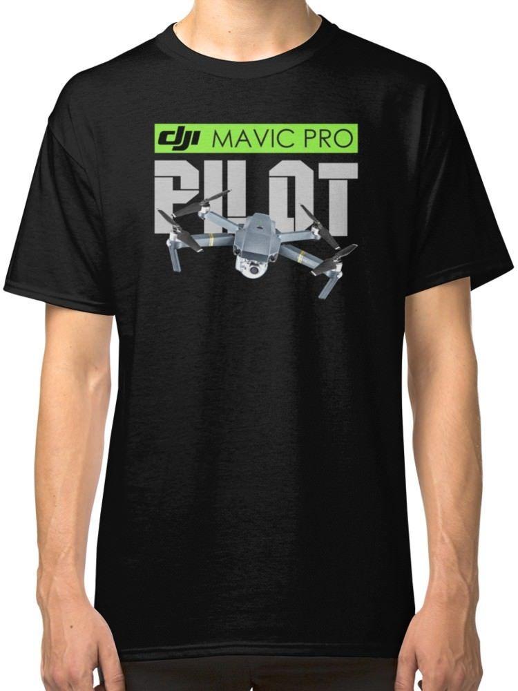 Dji font b Mavic b font font b Pro b font Drone Pilot Black T Shirt