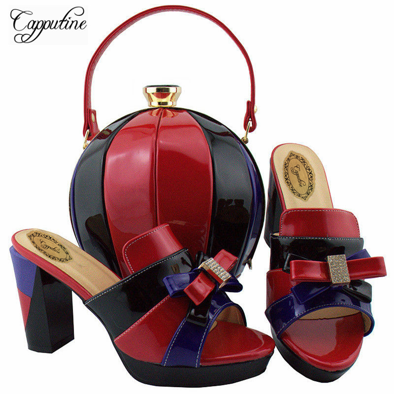 Capputine Latest African Woman Shoes And Matching Bag Set Italian Pumps Shoes And Bag Set For Party In Women Free Shipping YD003 th16 38 gold free shipping high quality lady italian matching shoes and bag set for wedding and party in wholesale price