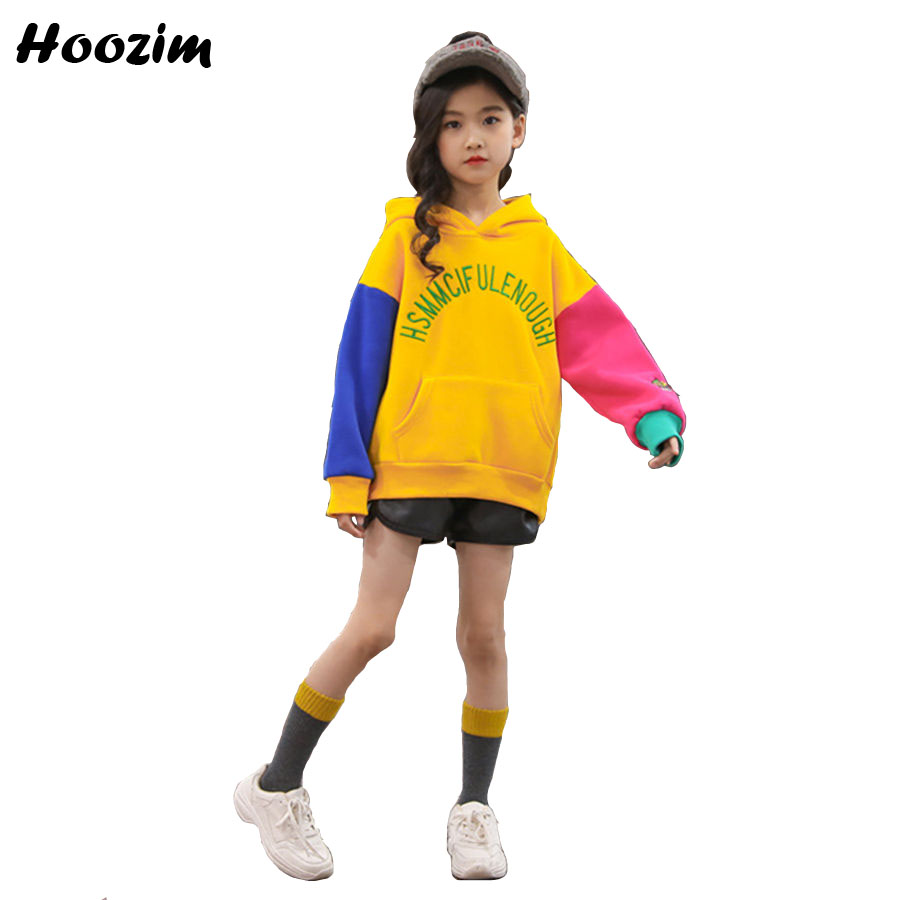 Winter Thick Velvet Sweatshirt For Girls 8 9 10 11 12 Years Fashion Embroidery Letter Hoodies Kids Autumn Sport Children Clothes hoodies for girls teenage 4 5 6 8 9 10 11 12 13 years sweatshirt for girls long sleeve letter baby girl clothes velvet top