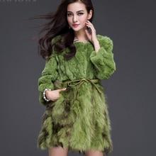 2016 hot selling colorfur real women rex rabbit fur coat with raccoon fur at bottom high quality slim winter aytumn jacket vest