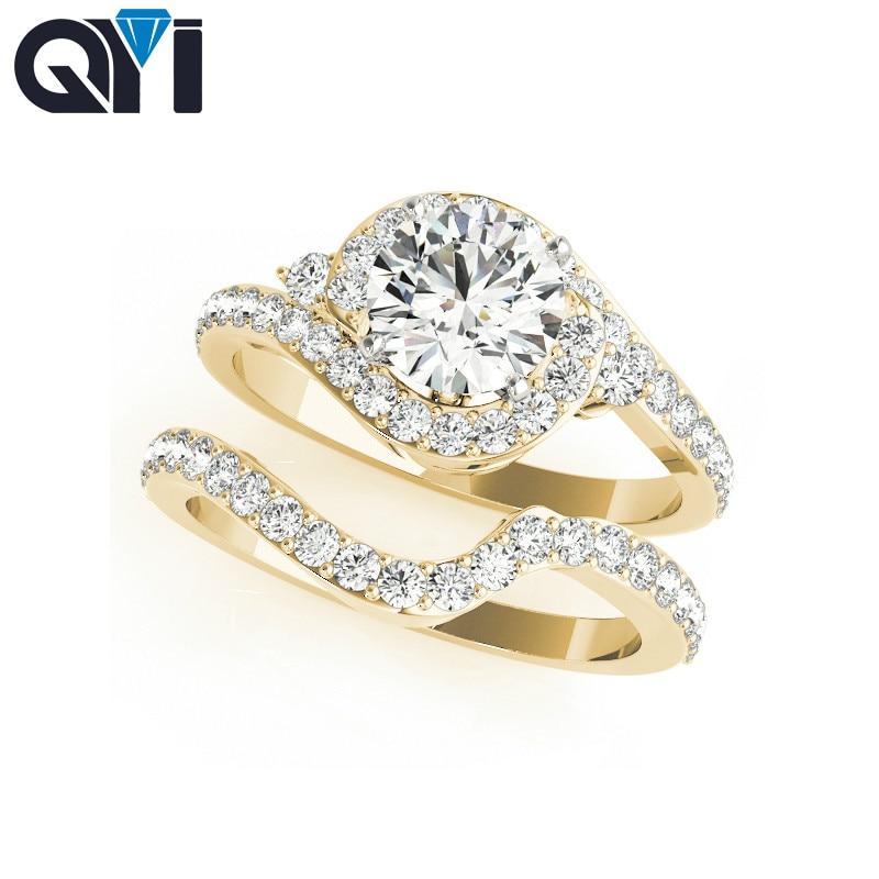 QYI Luxury Yellow Gold Plated Set 925 Silver Ring Wedding Jewelry Promise Rings For Women Bridal Ring Sets,18K gold custom u7 люкс crown кольца для женщин модные 18k gold plated платина кубического циркония обручальные обручальные кольца кольца promise