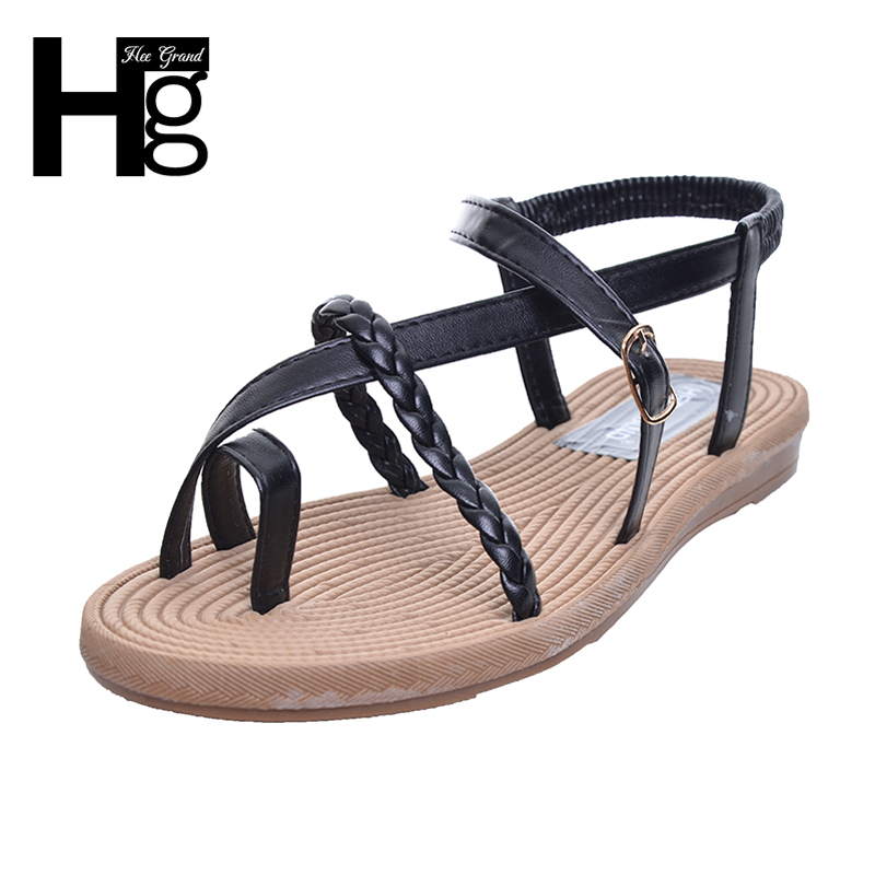 HEE GRAND Plus Size 35-40 Women Sandals 2017 Bohemia Style Casual Flat with Elegant Buckle Summer Shoes For Woman XWZ2170 hee grand women gladiator sandals simple flat with buckle flip fflops woman summer casual shoes xwz3789