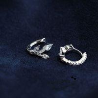 Hot brand S925 sterling silver wedding jewelry tree branch earrings for girls cubic zirconia leaf earrings