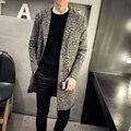 Jaqueta masculina пальто для мужчин мода 2016 новый зима мужчины шерсти длинное пальто плюс размер повседневная шерстяные пальто 5XL-M Серый Горячая