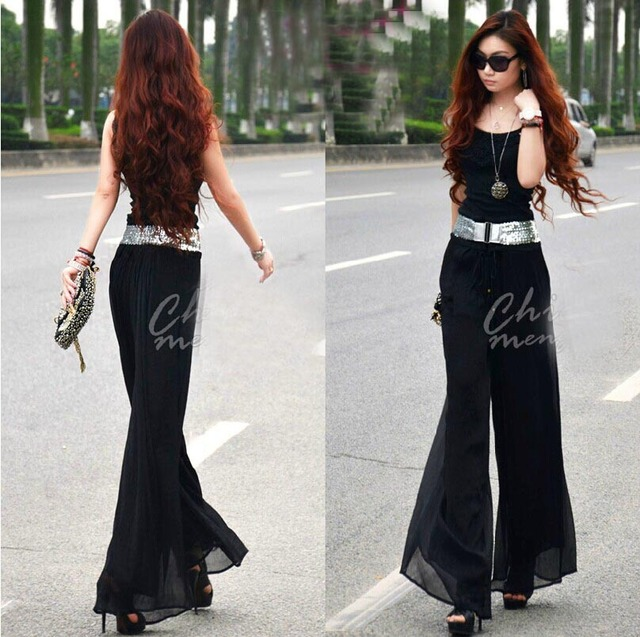 2016 Longa Chiffon Culottes Plus Size Cintura Alta Plus Size mulheres Calças Moda Skorts Boemia Senhora calças casuais S/M/L 3 tamanhos