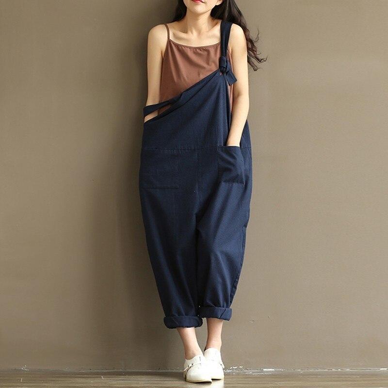 ZANZEA Women Strappy Sleeveless Bib Overalls Rompers Pockets Dungaree Spring Cotton Linen Long Suspender Jumpsuits Plus Size