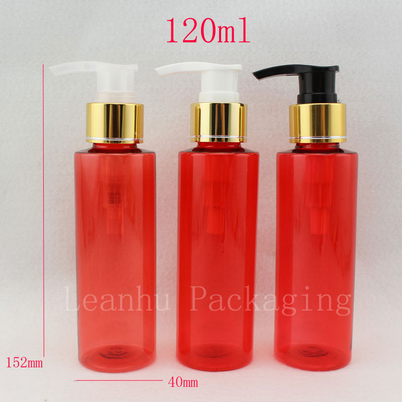 362ffa91802 red round 120ml x 40 gold aluminum screw lotion pump plastic bottles for  shampoo