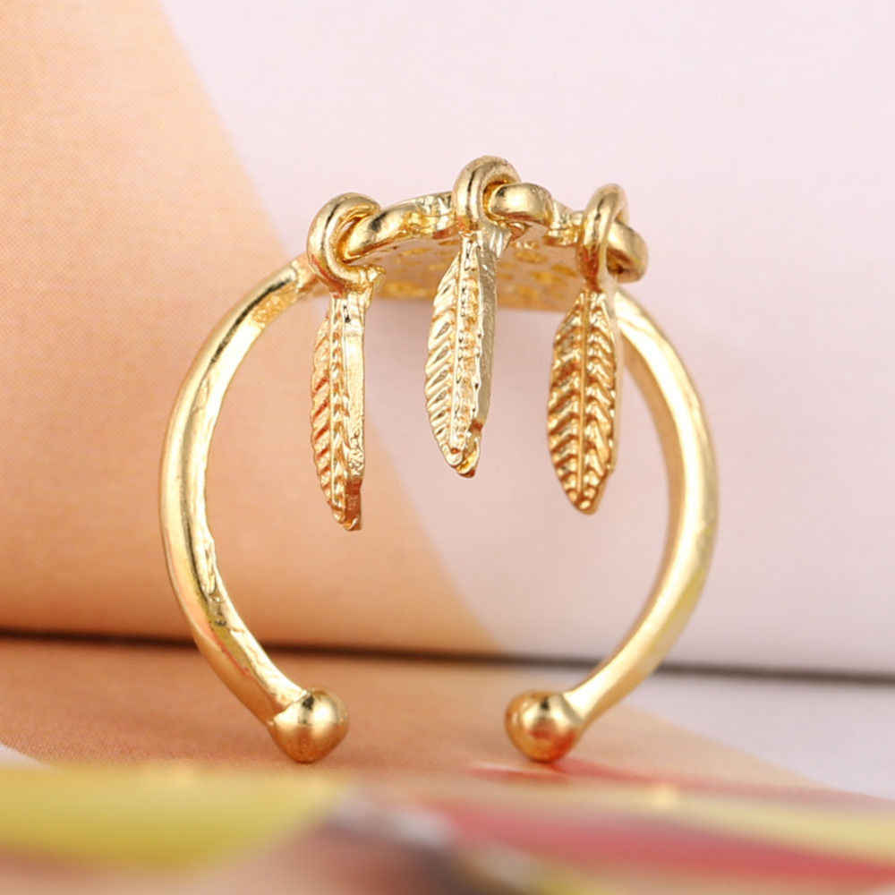 Charming Jewelry Dreamcatcher Ring Hollow-out Feathers Woman Rings Color Gold Silver Plated