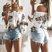 Women Casual Off Shoulder Tops Chiffon Blouses Long Sleeve Floral Printed Shirt Elegant Party Beach Blouse Chemise Tube Blusa