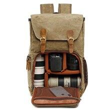 Bolsa de fotografía de lona impermeable para hombre y mujer, mochila de hombro para cámara, para Canon DSLR SLR Digital
