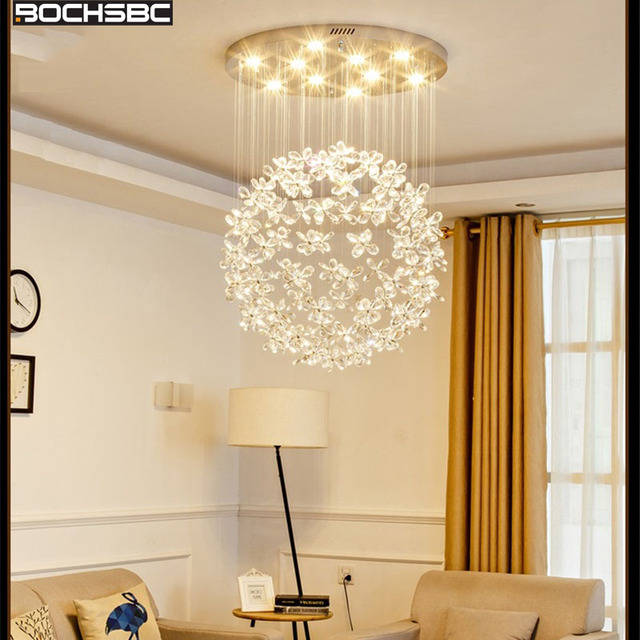 BOCHSBC Fashion Luxurious Crystal Chandeliers for Living Room Bedroom Dining Room Art Deco Hanging Lampara Indoor Lights