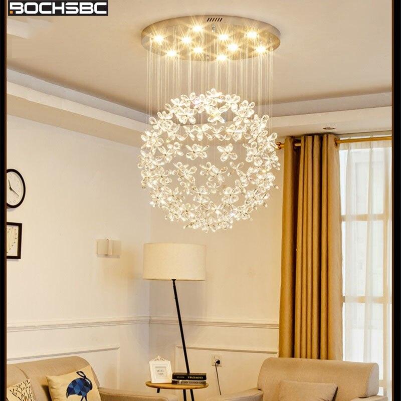 BOCHSBC Moda de Luxo Lustres De Cristal para Sala de estar Quarto Sala de Jantar Arte Deco Pendurado Luzes Lampara Interior