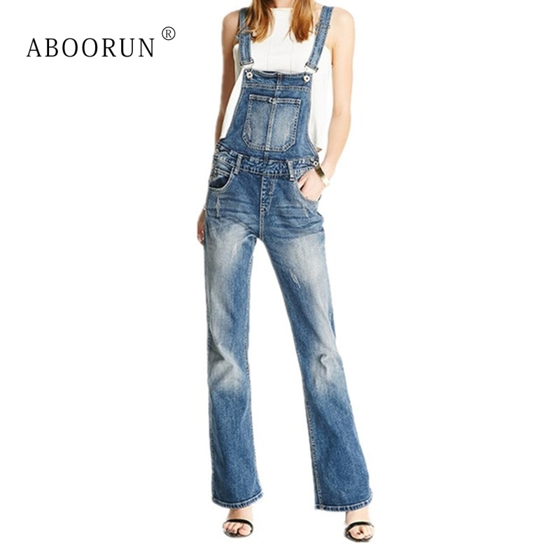 37dbf67a35cc ABOORUN Fashion Women Vintage Denim Jumpsuits Romper Overalls High Quality  Wide Leg Flare Jeans Trousers for Female ZC1036-in Jumpsuits from Women s  ...