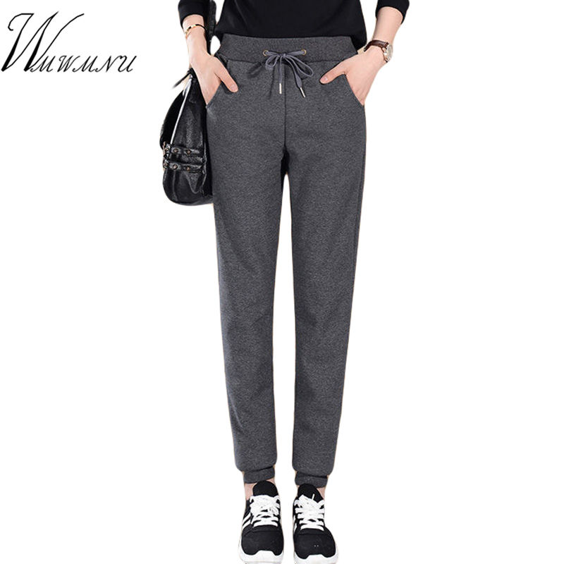 Plus Size Casual Thicken Harem Sports Pants Women Autumn Winter Lambskin Cashmere Trousers Warm Female Loose Basic Pants 2019