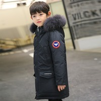 Kids Parkas 2018 Boys Down Jackets Thicken Real Fur Hooded Coat Teenage Boys 10 12 14 16 years Warmly Children Winter Outerwear