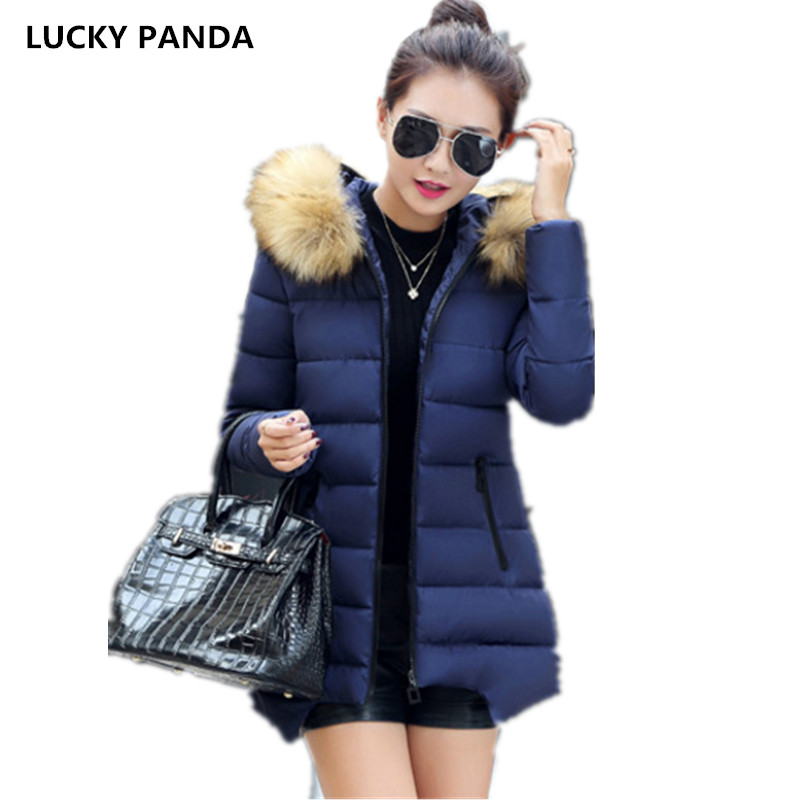 Lucky Panda 2016 Large size fur collar down in the long section of new cotton padded coat slim LKP239 2017 winter new clothes to overcome the coat of women in the long reed rabbit hair fur fur coat fox raccoon fur collar