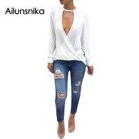 Ailunsnika 2017 Summer Women Sexy Fashion White Black Grey Loose Chiffon Top Choker V Neck Full
