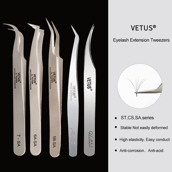 VETUS 1 Pcs volume lash Tweezers Stainless Steel Eyelash Tweezers for Eyelash Extension Eye Makeup Tools SA ST
