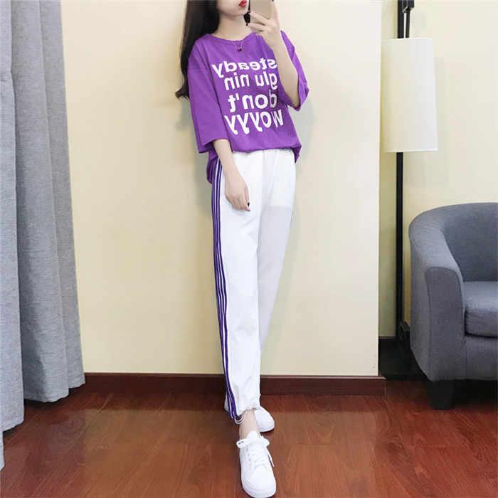Rlyaeiz 韓国のファッション 2 個セット女性スーツ 2019 夏の手紙 tシャツ + ストライプアンクル丈パンツ女性のトラックスーツ