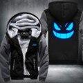 USA size Men Women Pokemon Pocket Monster Gengar Luminous Zipper Jacket Sweatshirts Thicken Hoodie Coat Clothing Casual