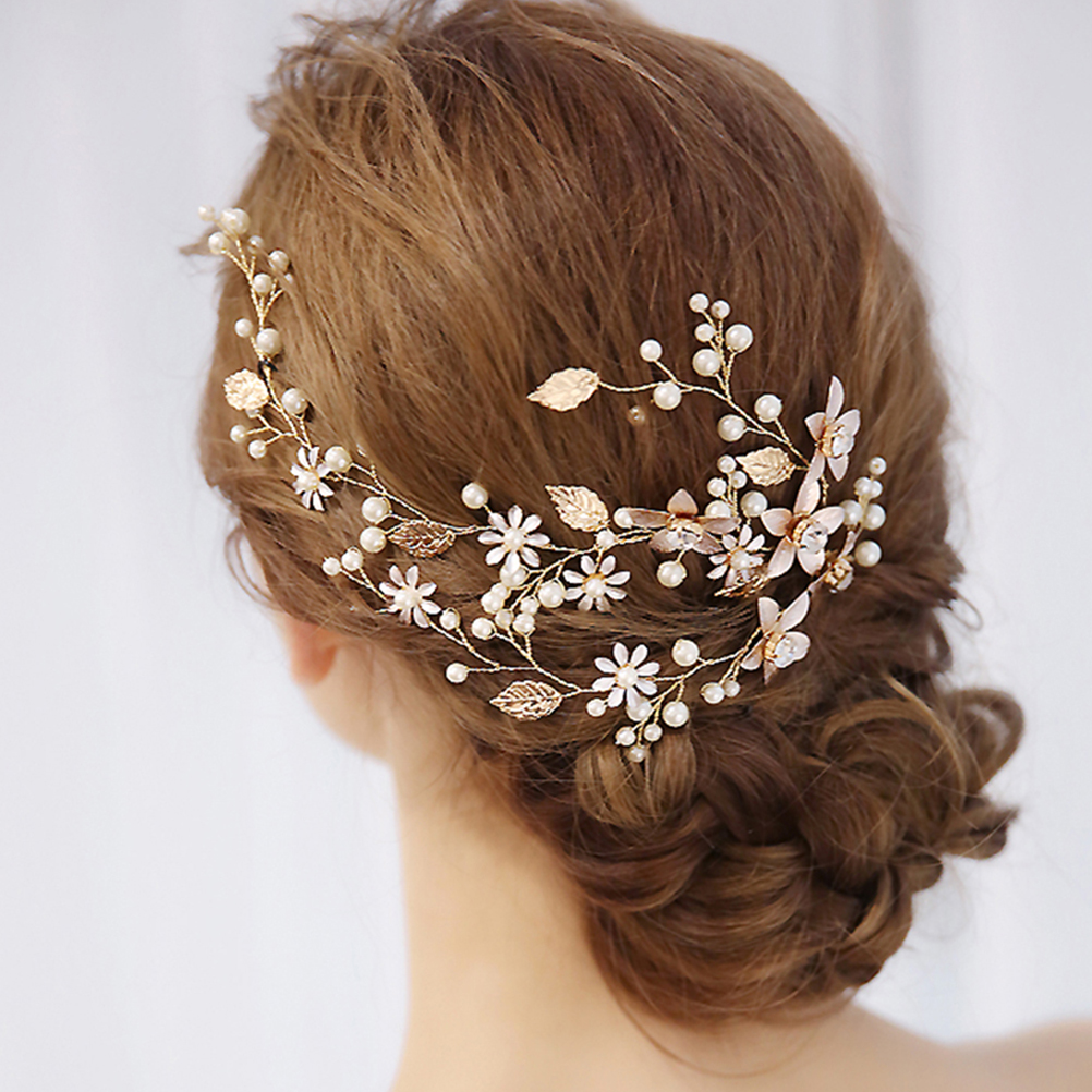 <font><b>Wedding</b></font> Headband Handmade Pearls Leaf Flower Bridal <font><b>Headpieces</b></font> Headwear <font><b>Hair</b></font> <font><b>Accessory</b></font> <font><b>For</b></font> <font><b>Wedding</b></font> <font><b>Hair</b></font> Decoration image