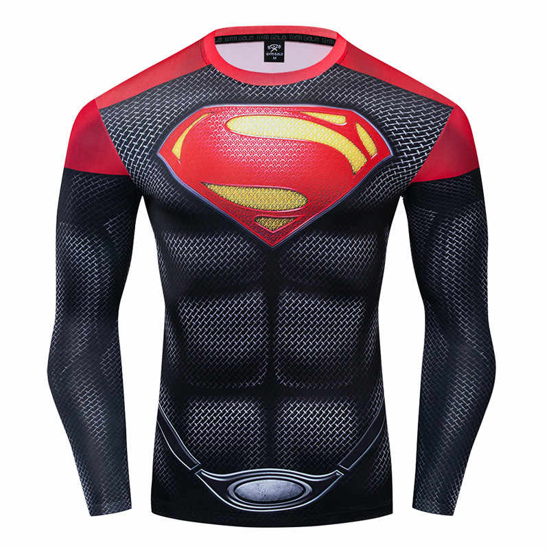 Superman Tshirt Erkekler Spor T-shirt Erkek Sıkıştırma Gömlek Yeni 3D Baskılı Uzun Kollu Polyester Tişört Cosplay Kostüm