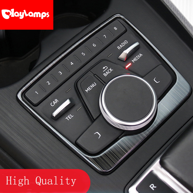 Car Accessories For Audi A5 A4 B9 2017 2018 High Quality Stainless Steel Gear Shift Panel Cover Decoration Trim Interior Sequins