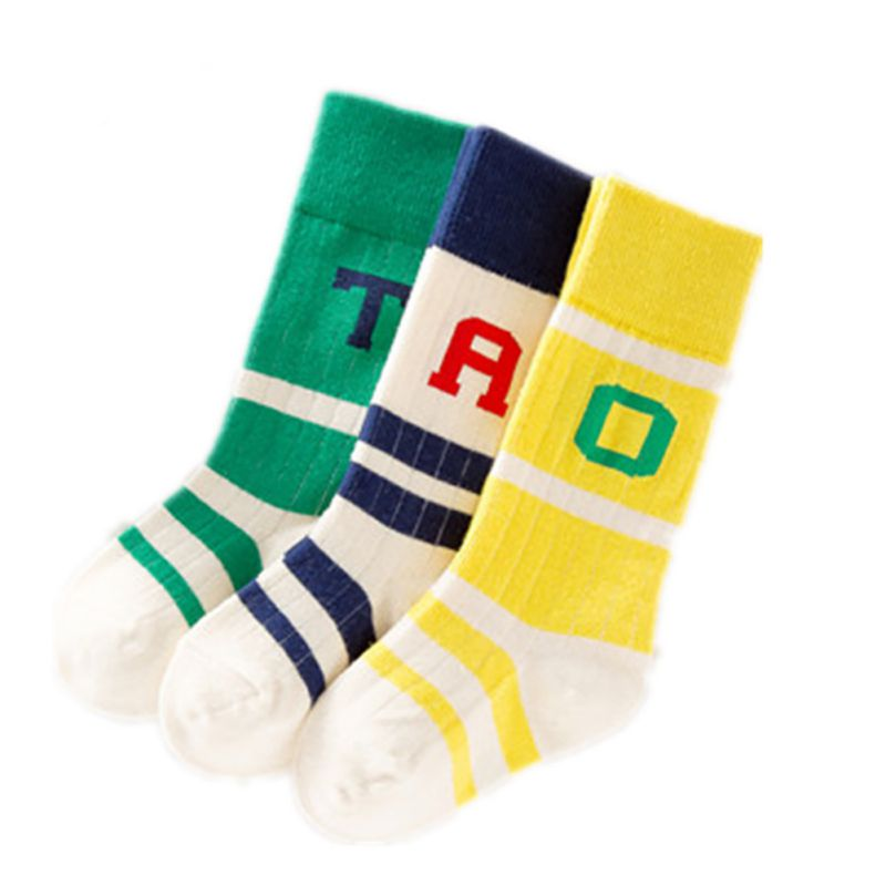 Baby 0-6Y Boys Girls British Wind Striped Letters Children Socks Kids Anti-slip Sports Socks Cotton Soft Breathable Sock 0-6Y K
