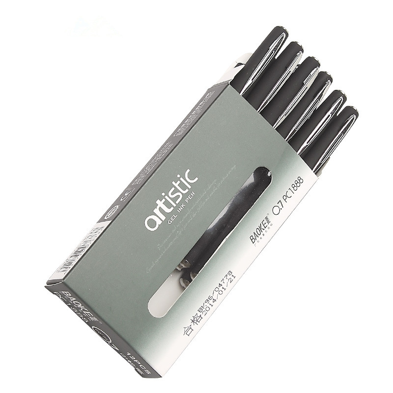 3PCS/LOT GENKKY BAOKE Gel Pen PC1888 neutral black felt-tip pens 0.7 mm thick head office for learning to write