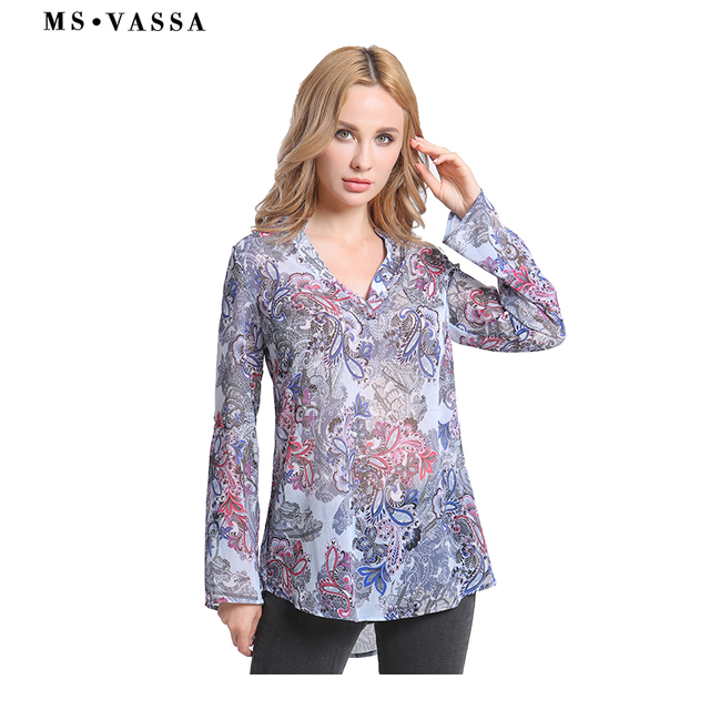 Casual shirts print long sleeve V-neck ladies loose Blouses  1