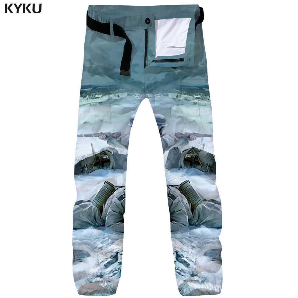 KYKU War Cargo Pants Men Military Vintage Britches Tactical Russia Snow 3d Print Pants Baggy Straight Mens Trousers Streetwear